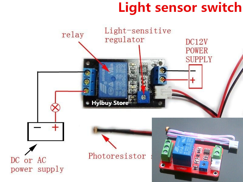 dc 12v adjustable light sensor switch photoresistor