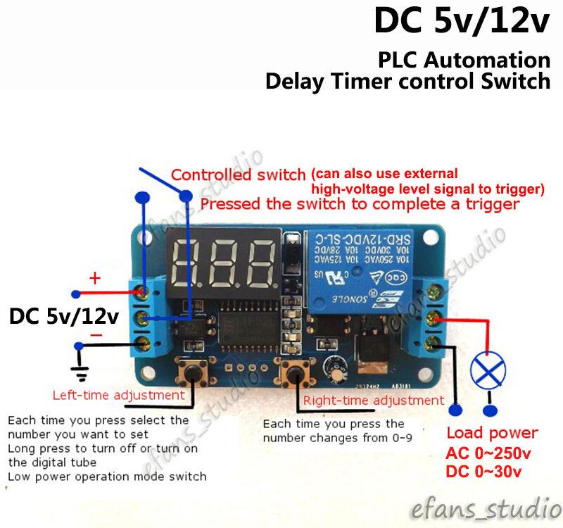 Dc 5v 12v Led Display Delay Timer Controller Switch Relay