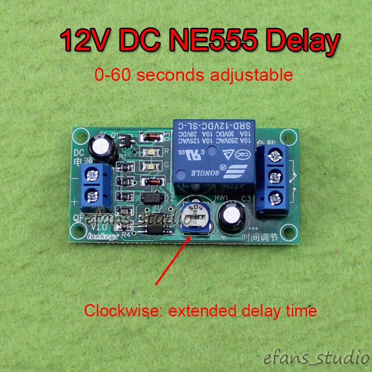 Dc 5v 12v Delay Timer Switch Adjustable Ne555 Mcu Relay