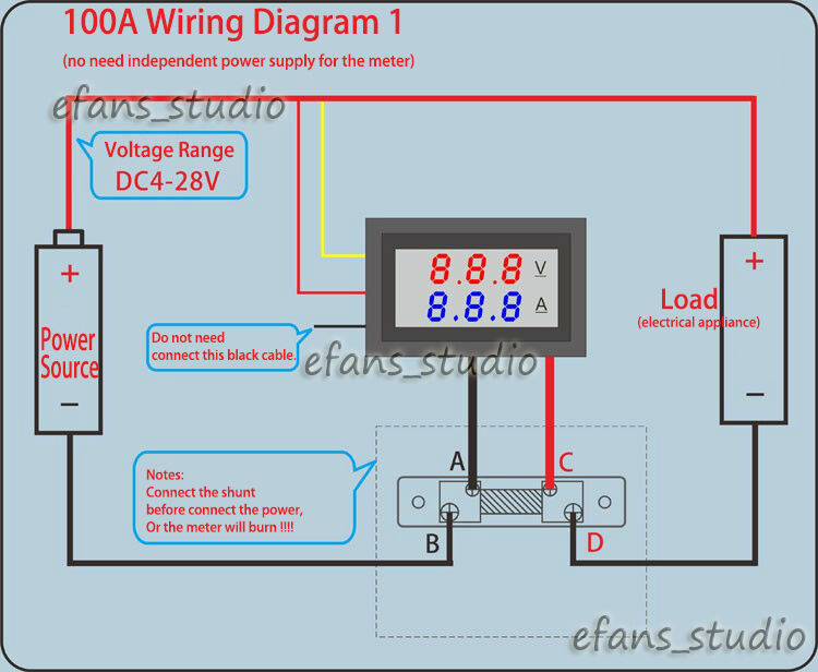 12v amp meter wiring diagram 3 volt amp meter wiring diagram for wire digital voltmeter amp volt meter + current shunt dc 0-100v ...