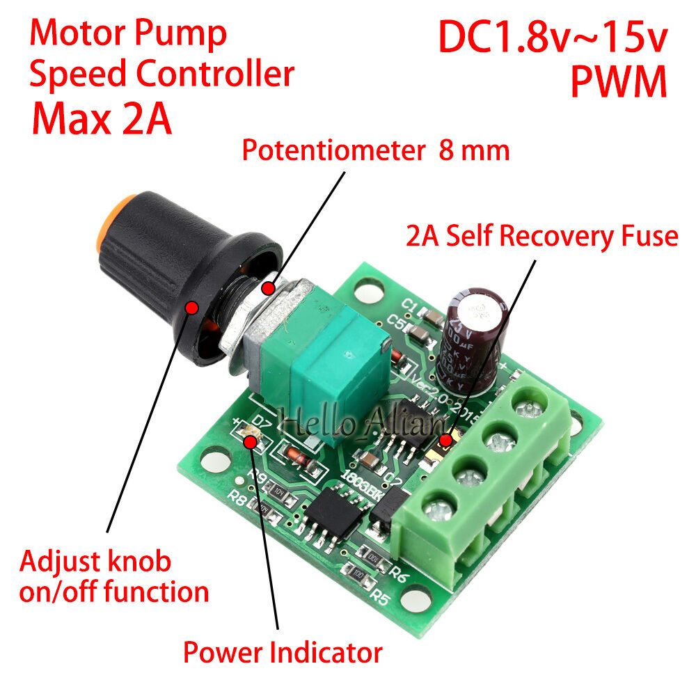 Low voltage dc 3v 5v 6v 9v 12v 2a pwm dc motor pump speed for Motor speed control pwm