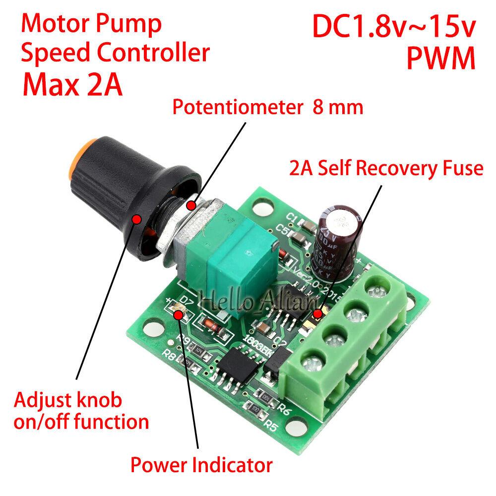 Dc 1 8v 3v 5v 6v 12v 2a pwm motor speed controller for Dc motor with speed control