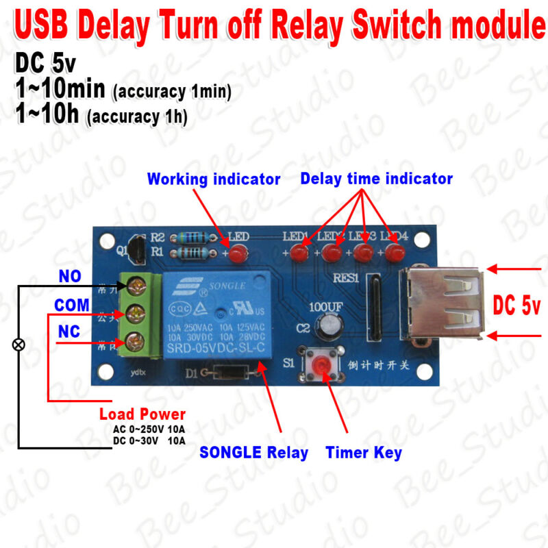 DC 5V Delay Time Delay Turn off Switch Timer Countdown Relay USB
