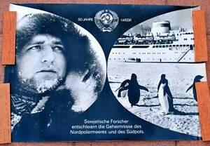 DDR-Plakat-Poster-50-Jahre-UdSSR-1967-83-x-58-cm-Original-Suedpol-Nordpolar-A