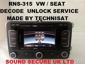 decode unlock service rns315 rns 315 radio navigation satnav vw seat technisat ebay. Black Bedroom Furniture Sets. Home Design Ideas
