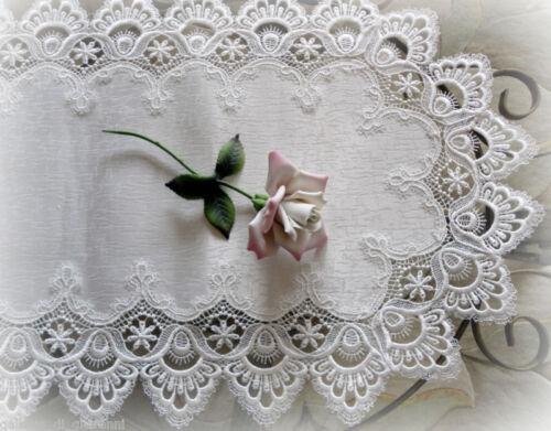 """DELICATE WHITE  Trim Lace Doily Table Runner  28 """" Estate Design"""