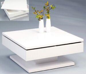design couchtisch deckplatte schwenkbar hochglanz weiss quadrat tisch ebay. Black Bedroom Furniture Sets. Home Design Ideas