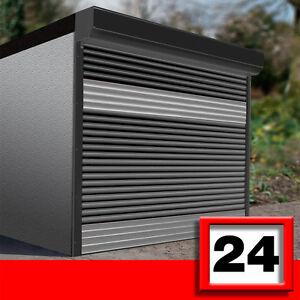 design garagentor 2 5 x 2 5m motor anthrazit silber 52mm lamellen rolltor ebay. Black Bedroom Furniture Sets. Home Design Ideas