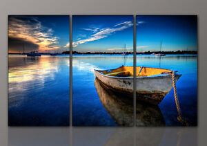 designbilder wandbild boot meer see blau leinwand wohnzimmer kunst 160x90cm ebay. Black Bedroom Furniture Sets. Home Design Ideas