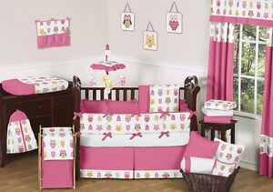 White happy owl nature theme baby girl unique crib bedding set ebay