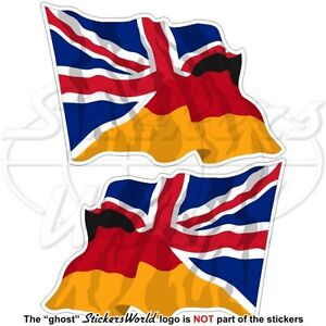 deutschland uk wehende flagge deutsche britische fahne aufkleber 75mm x2 ebay. Black Bedroom Furniture Sets. Home Design Ideas