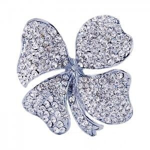 DIAMANTE-CRYSTAL-CLEAR-SILVER-BROOCH-PIN-FOUR-LEAF-CLOVER-SHAMROCK-JEWELLERY-UK