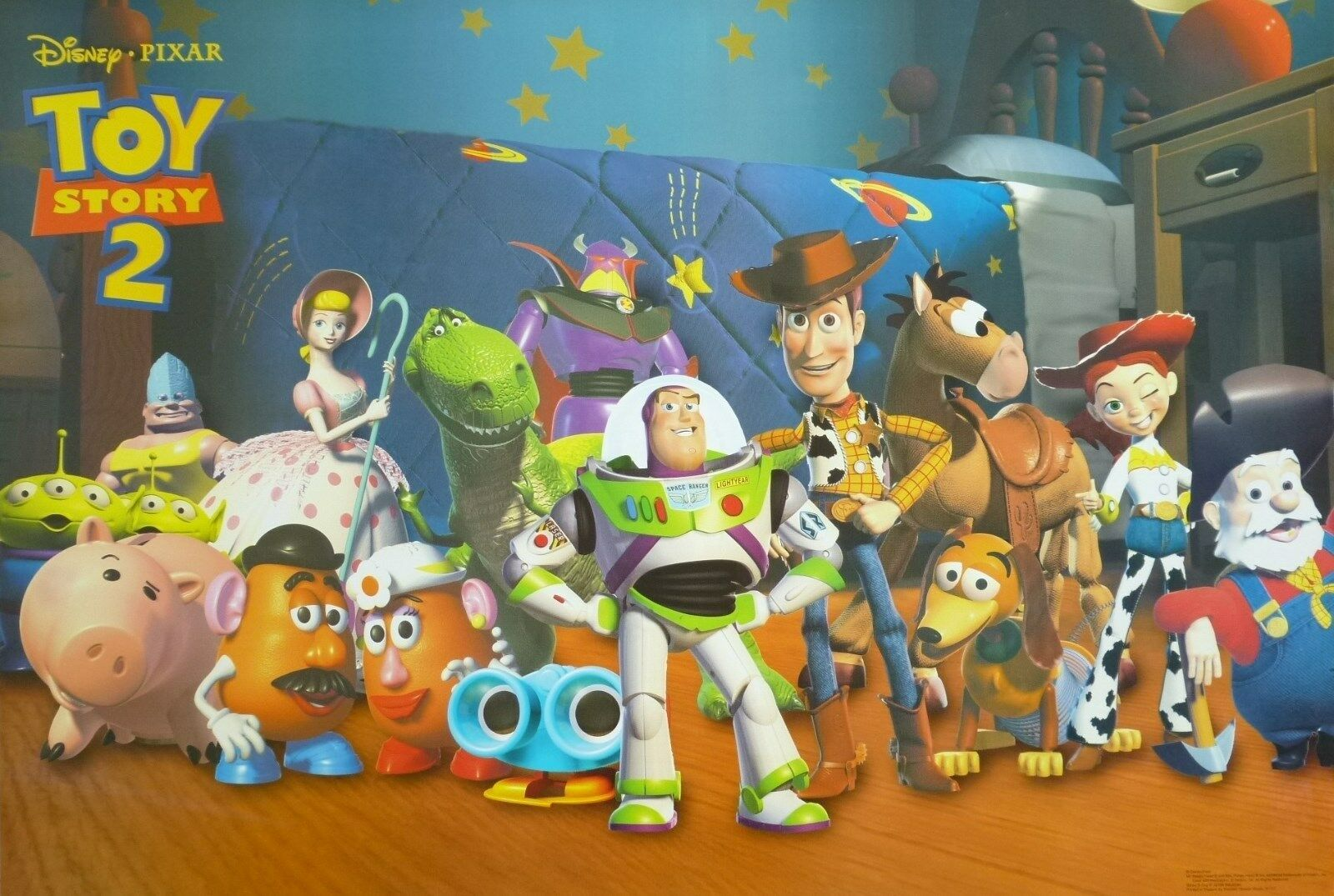 DISNEY/PIXAR U0026quot;TOY STORY 2u0026quot; POSTER -Woody U0026 Buzz Standing With All The Characters | EBay