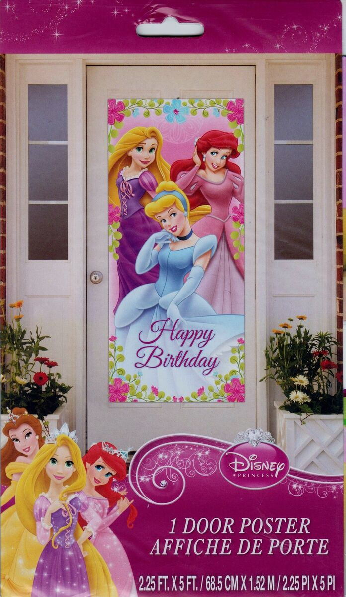 Disney Princess Plastic Door Poster Birthday Party Supplies Decorations Signs
