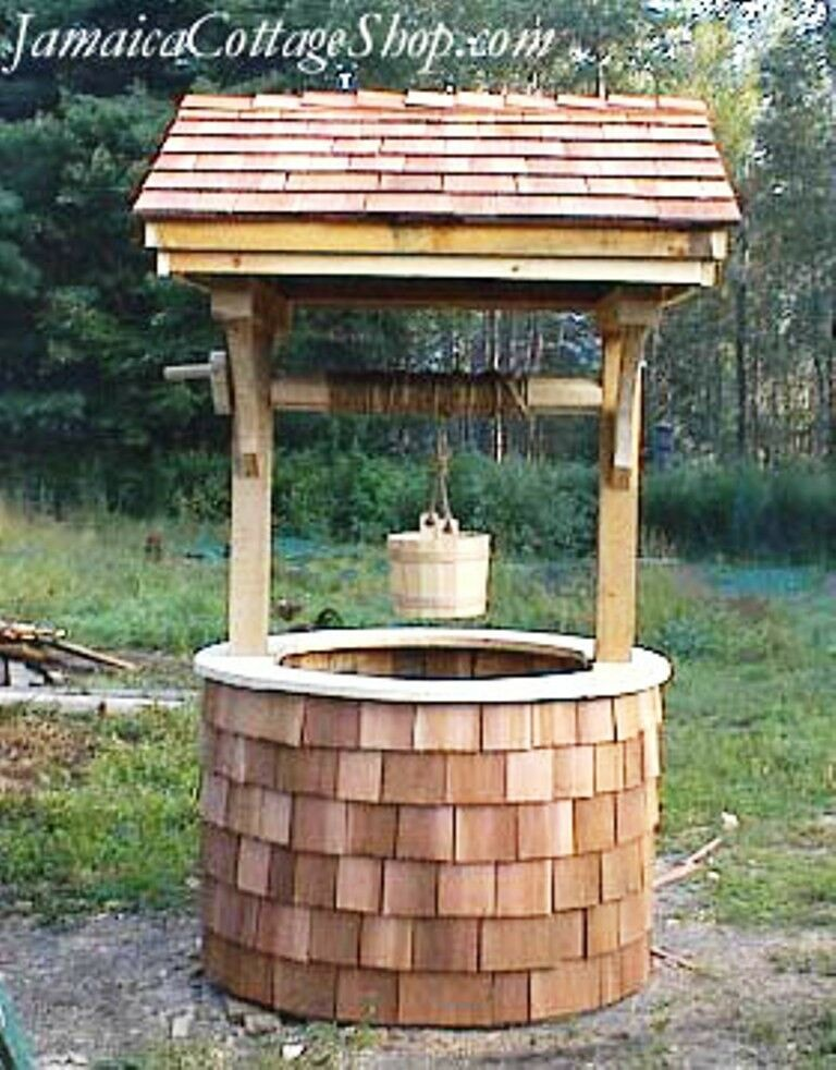 Diy plans 4x4 wishing well decorative well cover yard for Garden wishing well designs