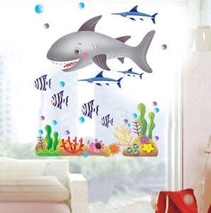 diy wallpaper cartoon fish bathroom sticker mural wall. Black Bedroom Furniture Sets. Home Design Ideas