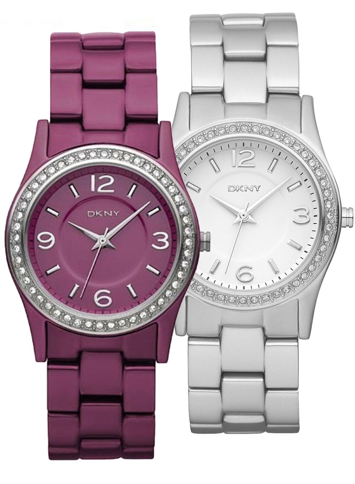 DKNY Women's Glitz Aluminum Fashion Watch-Choice of Purple or Silver