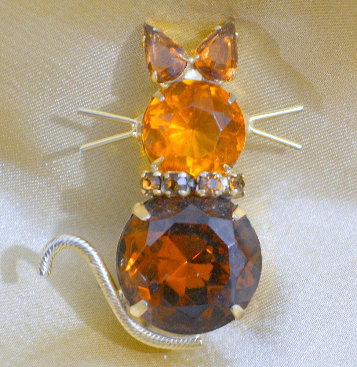 Dodds Gold Metal Amber Brown Topaz Rhinestone Cat Brooch Pin