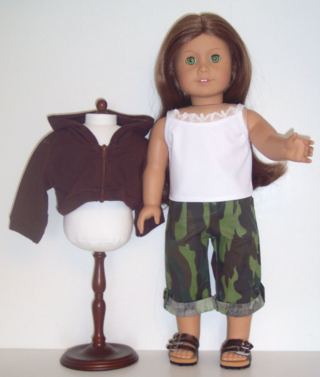 DOLL CLOTHES FITS AMERICAN GIRL CAMO CAPRIS,WHITE CAMISOLE,& BROWN