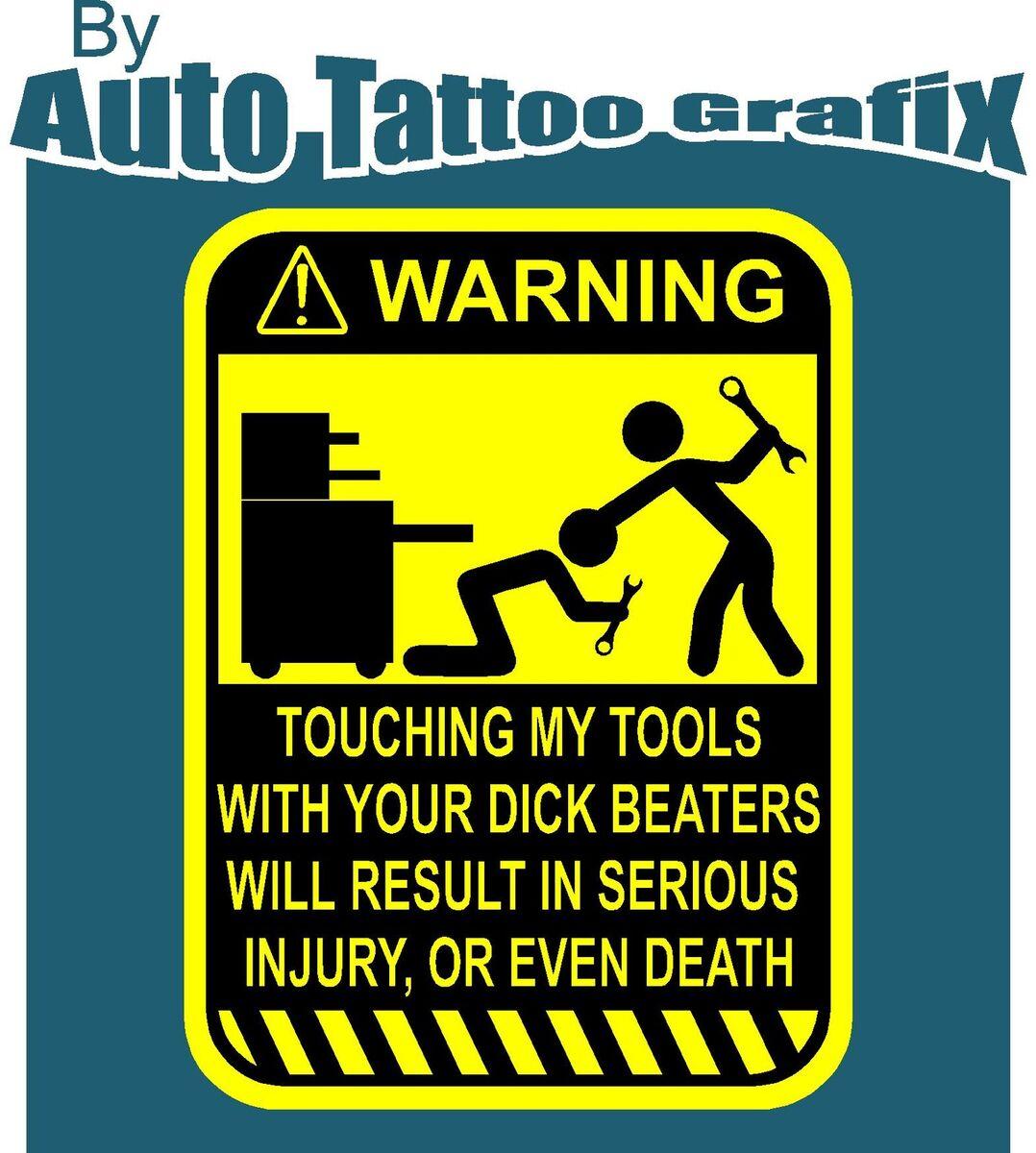 TOOLS Warning Decal Sticker Tool Box Funny Prank Workshop Tools