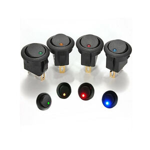 DOT-Wippschalter-Druckschalter-Illuminated-Switch-KFZ-Kippschalter-12V