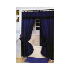 Double Swag Shower Curtain Liner Hooks Navy Blue
