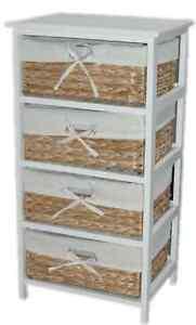 details about drawer set wicker rattan storage bathroom kitchen