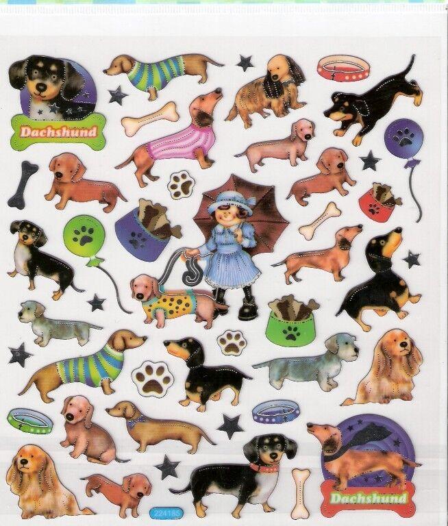 Dachshund dog stickers bones paw prints silver outline
