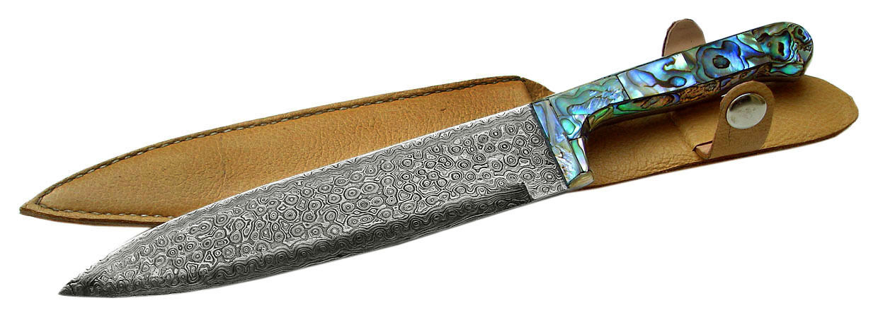 damascus steel abalone chef knife cutlery knife kitchen knife leather sheath ebay. Black Bedroom Furniture Sets. Home Design Ideas