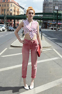 Damen bluse wickel shirt bauchfrei 36 38 wei pink punkte for 90er mode damen