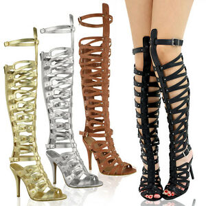 damen gladiator sandalen kniehoch stiletto party high heel. Black Bedroom Furniture Sets. Home Design Ideas
