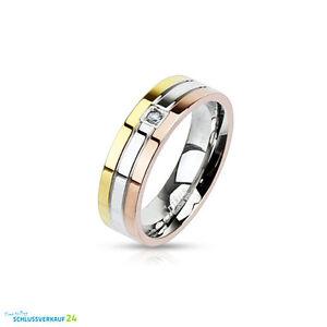 ... Ringe Edelstahl Damenring Band Ring Rosè Gold Silber Edelstahlringe
