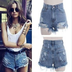 damen high waist loch wasser waschen shorts jeans hot pants denim kurze hose top ebay. Black Bedroom Furniture Sets. Home Design Ideas
