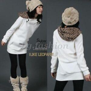 Damen-Hoodie-Kapuzen-Jacke-Leopard-Pullover-Pulli-Kapuzenpullover-Sweatshirt