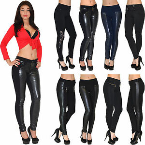 Damen-Hose-Skinny-Leder-Optik-Roehrenjeans-Huefthose-Damenhose-Treggings-T05