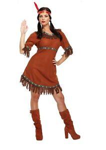 Damen-Indianer-Kostuem-Braun-Rot-Wilder-Westen-Pocahontas-Verkleidung