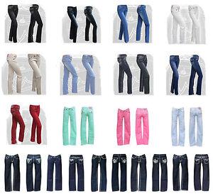 Damen-Jeans-gerades-Bein-34-36-38-40-42-44-Bootcut-Hosen-Dicke-Naht-Hueftjeans