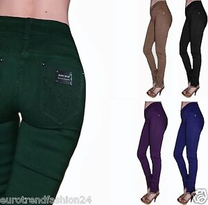 Damen-Jeggings-Gerades-Bein-Jeans-Hosen-Hose-Hoch-Treggings-Jeggins-Freizeithose