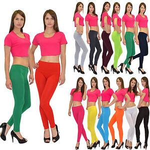 Damen-Leggings-Legging-Leggins-Hose-bunt-farbig-Lang-Aktuelle-Farben-L01