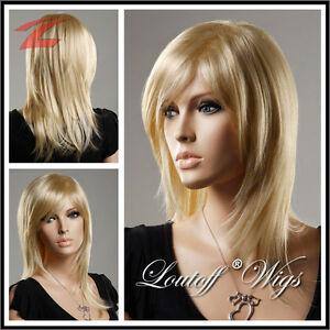 damen per cke blond haar wie echthaar mittel lang glatt wig cosplay kost m neu ebay. Black Bedroom Furniture Sets. Home Design Ideas