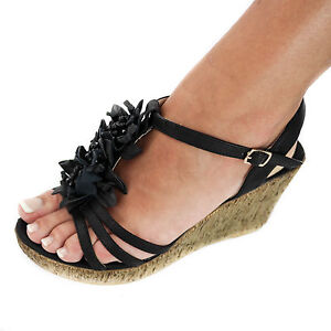 damen sandalen sandaletten keilabsatz high heels blumen wedge neu schwarz zh591 ebay. Black Bedroom Furniture Sets. Home Design Ideas