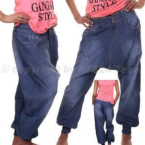 damen sexy haremshose pumphose pluder boyfriend sarouel aladin harem hose jeans ebay. Black Bedroom Furniture Sets. Home Design Ideas