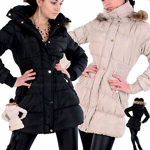 Damen-WINTER-Outdoor-MANTEL-Fell-KAPUZE-Stepp-JACKE-Sexy-DAUNEN-Parka-LOOK-F-2