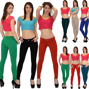 Damenhose-Roehrenhose-Damen-Hose-Treggings-Jeggings-Roehre-Huefthose-Stretch-T01