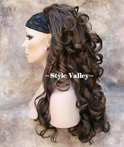 Dark-Brown-Mix-3-4-Fall-Hair-Piece-Long-Curly-Half-Wig-Hairpiece-STUNNING