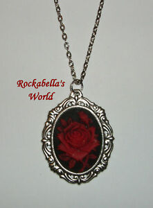 Dark-Red-Rose-Kette-Gothic-Rockabilly-KULT-ROT-Cameo-rote-Rose-Valentine