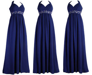 Dark-Royal-Blue-Long-Halterneck-Evening-Diamante-Maxi-Prom-Ball-Dress-Size-22