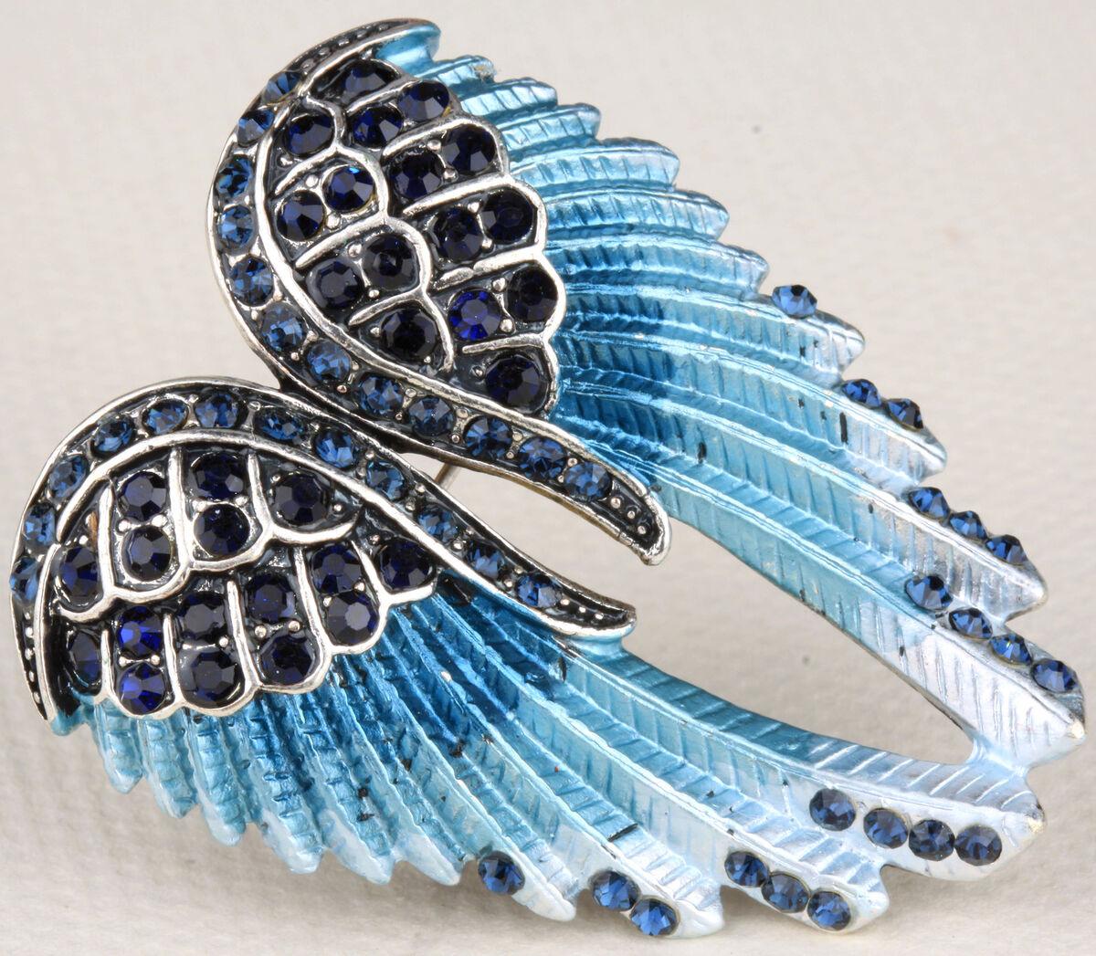 Dark Blue Crystal Angel Wing Pin Pendant BD03 Matching Ring Earrings