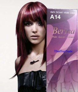 Dark Brown Violet Berina Hair Dye Color Cream Fashion Salon A14 New ...