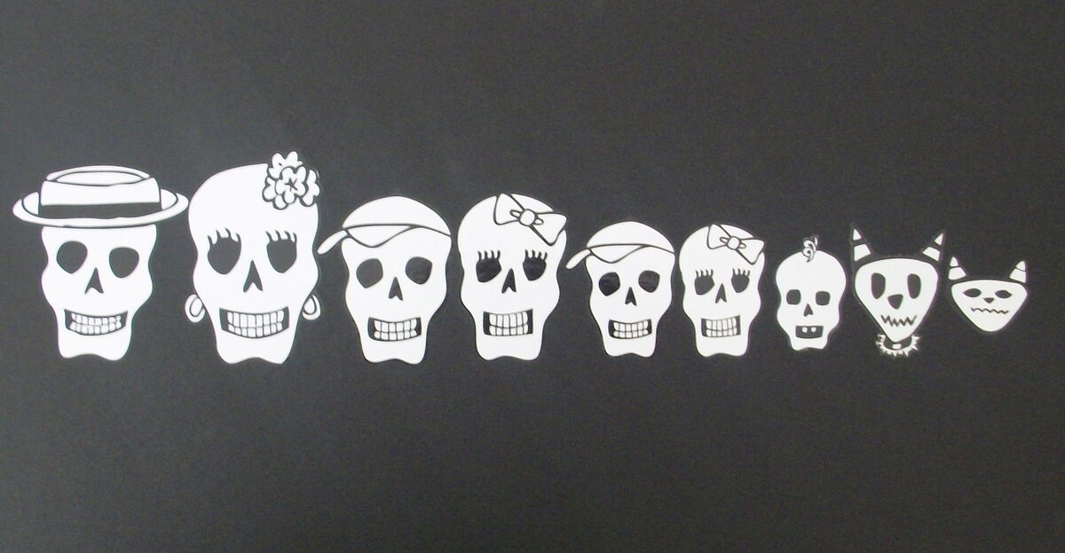 Day of The Dead Skeleton Family Car Decals Stickers